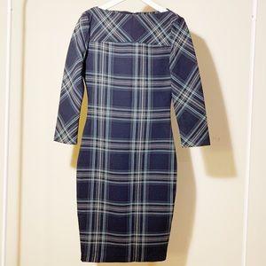 Zara Dark Blue Checkered Dress